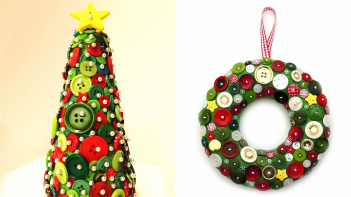 decoración botones en Navidad