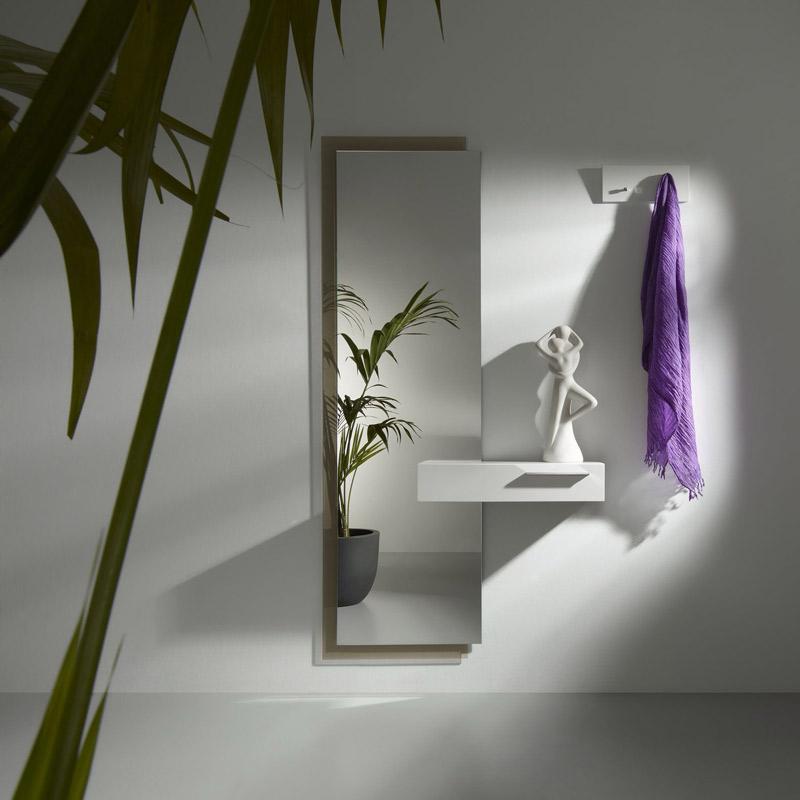 recibidor moderno con consola y espejo