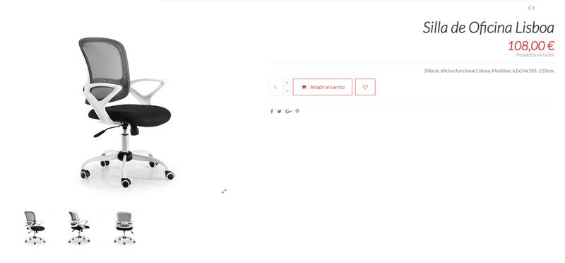 Silla de oficina lisboa ejemplo de producto simple
