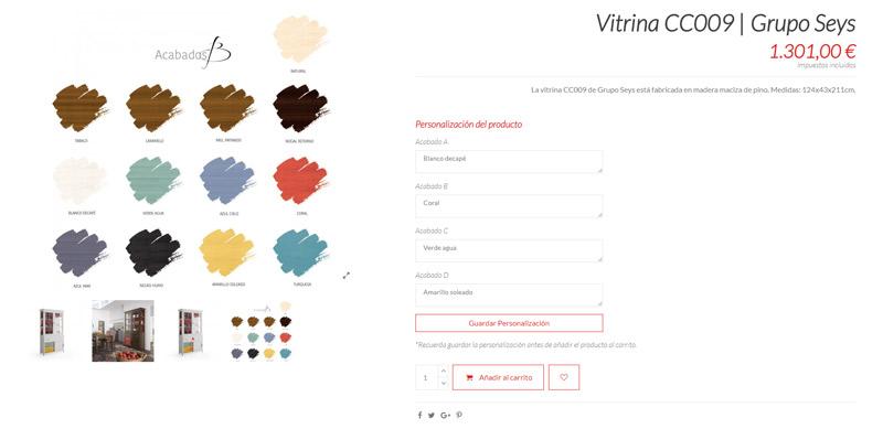 Vitrina de Grupo Seys como ejemplo de producto a la carta