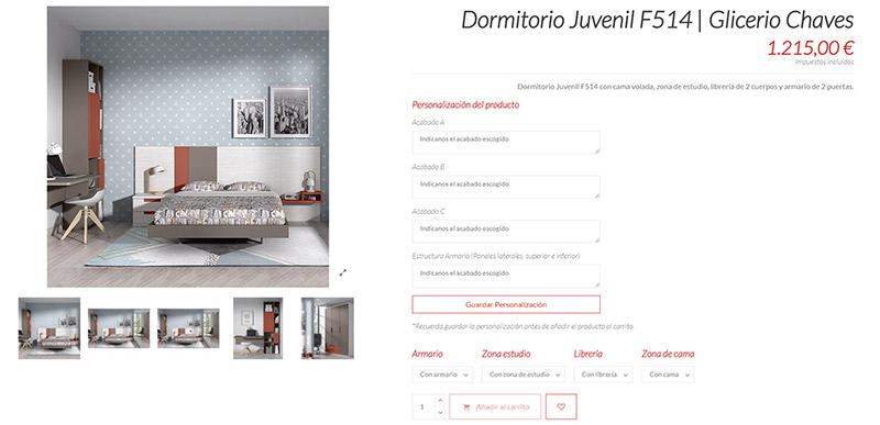 Dormitorio de Glicerio Chaves como ejemplo de producto