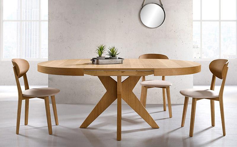 Mesa de madera redonda extensible