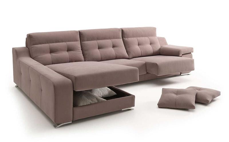 Sofá chaiselongue tapizado en tela