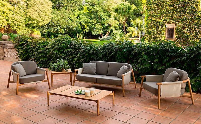 Conjunto jardín fabricado en teca