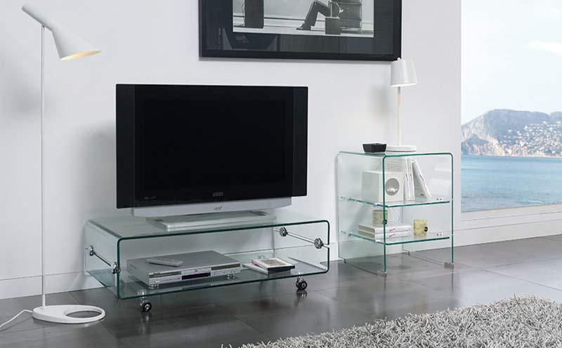 Mueble TV Cristal Con Ruedas