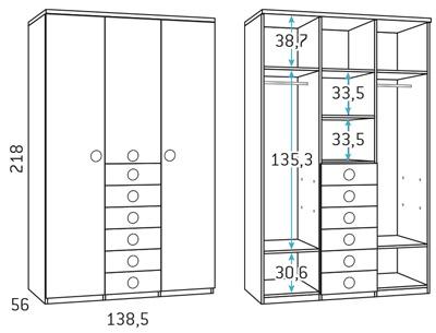 Armario 3 puertas para dormitorio juvenil