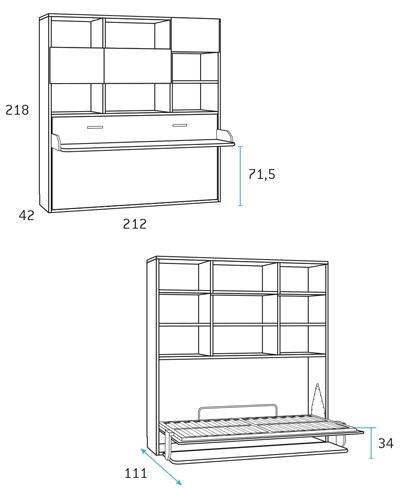 Cama abatible horizontal 190x90 para dormitorio juvenil