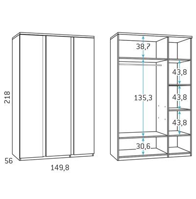 Armario 3 puertas composicion dormitorio juvenil