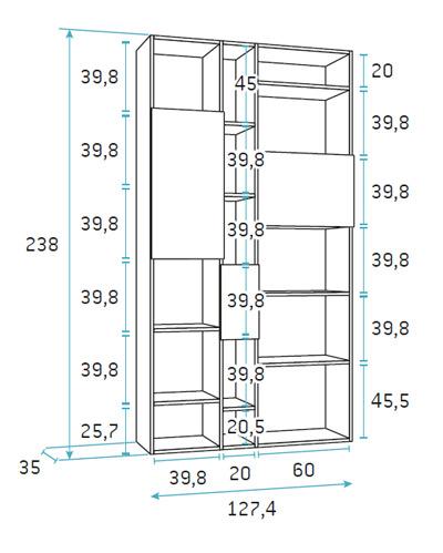 Libreria dormitorio juvenil f410 Glicerio