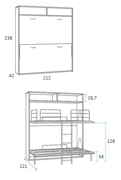 Cama abatible doble dormitorio juvenil Glicerio Chaves