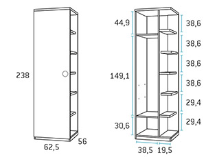 Armario con estantes composicion juvenil