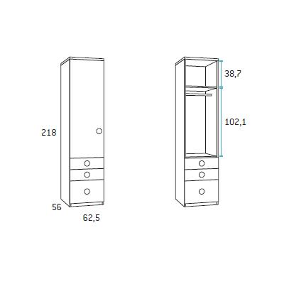 Armario 1 puerta para dormitorio juvenil