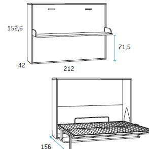 Cama horizontal abatible para dormitorio juvenil