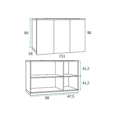 composicion de dormitorio juvenil F417 detalle 2