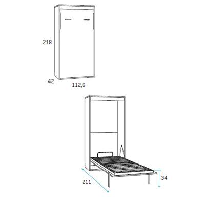 Cama abatible horizontal dormitorio juvenil