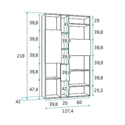 composicion de dormitorio juvenil F422 detalle 4