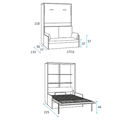 Dormitorio juvenil con sofa incorporado