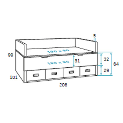 dormitorio juvenil F009 detalle 1